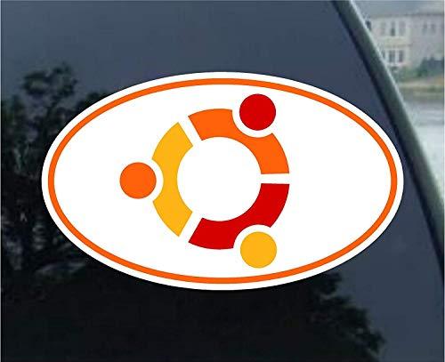 Yilooom Ubuntu Linux Logo Vinyl Euro Decal Bumper Sticker - Die Cut Vinyl Car Decal Sticker Bumper Window Sticker 2 Pack 8 Inches At Longest End