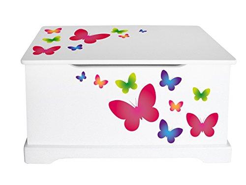 Leomark Coffre à Jouets En Bois Récipient Pour Les Jouets Motif: Papillons Banc à Rangement Children Coffre à Jouet Excellent Qualité Coloris Blanc Wooden Box Dimensions: L 59 x P 26 x H 32 cm