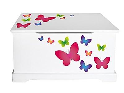 Leomark Caja de Madera Blanco con Almacenamiento para Juguetes, Accesorios Baúl de Juguetes Tema: Mariposas, Dim: 59 x 26 x 32 (alto) cm
