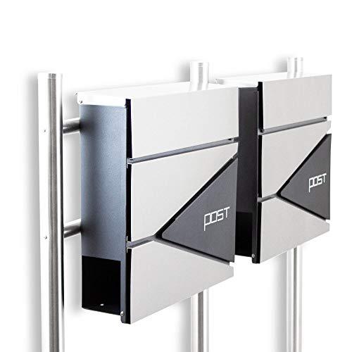 BITUXX® Design Doppel Standbriefkasten 16778 Briefkasten Briefkastenanlage Freistehender Postkasten mit Zeitungsfach Anthrazit Graphit Edelstahl
