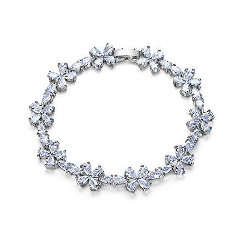 EVER FAITH Armkette Hochzeit Braut Party Zirkonia Floral Kirschblüte Blume Blatt Teardrop Römisches Tennis Armband Klar Silber-Ton