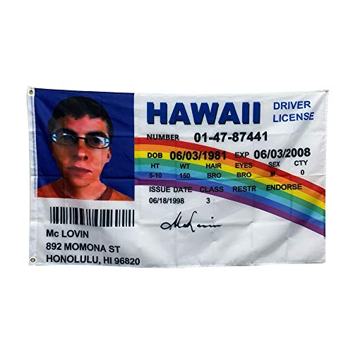 McLovin Fake ID Flag Banner College Dorm Frat with Hawaii Drivers Licence 3x5Ft Wall Flag