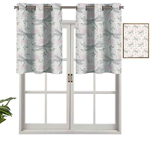Hiiiman Extra Short Length Insulated Thermal Window Panel Shabby Chic Roses Worn Old Vintage Backdrop with Moth Bugs Print, Set of 1, 42'x18' Home Decorative Blackout Panels for Bathroom