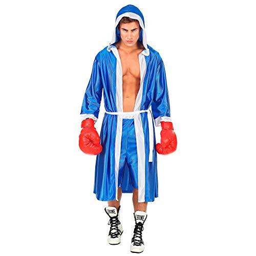 WIDMANN 51352 – Disfraz de bóxer, capa con capucha con cinturón y pantalones cortos, azul, atletas, luchadores, carnaval, fiesta temática