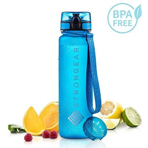 STRONGEAR® Premium Trinkflasche 650 ml oder 1l, BPA frei - auslaufsichere Tritan Wasser-Flasche für Erwachsene und Kinder mit Fruchtsieb/Früchtebehälter/Infuser - Sport Water Drinking Bottle BPA Free