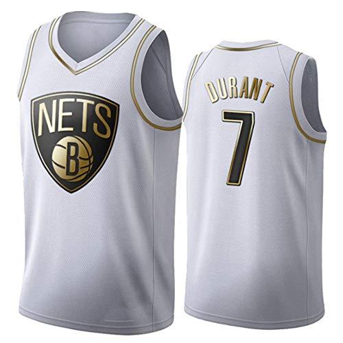 Platinum Edition Men's Basketball Jersey NBA Brooklyn Nets 7# Kevin Durant Cómodo/Ligero/Transpirable Malla Bordada Swing Swing Camiseta Retro Sudadera,L