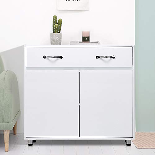SSLine White Samll Buffet Sideboard Kitchen Server Storage Cabinet Cupboard with a Large Drawer and 2 Doors Modern Simple Wood Buffet Cabinet Entryway Console Side Tables for Living Room Bedroom