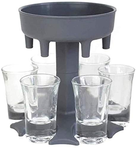 LOPP Shot Glass Dispenser Six Ways, Great Party Gift for Bar Multiple Shots Cocktail Dispenser, Drinking Games for Cocktail Party Get Togethers Girls Weekend (Gray Without Glass)