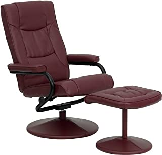 Flash Furniture Contemporary Multi-Position Recliner and Ottoman with Wrapped Base in Burgundy Leather