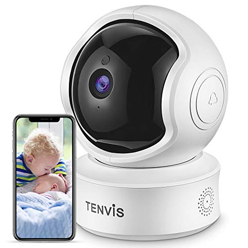 TENVIS Indoor Security Camera - Ultra HD 3-MP IP Camera with Phone App, Motion Detection, 2-Way Audio, Night Vision, Pan/Tilt/Digital Zoom, 2.4Ghz WiFi/Ethernet, 3.0 Megapixels Home Dome Camera