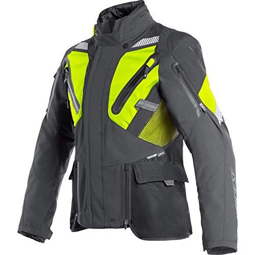 Dainese Giacca da moto con protezioni Giacca Gran Turismo GTX Giacca in tessuto da uomo Tourer tutto l'anno Nero/giallo fluo 62