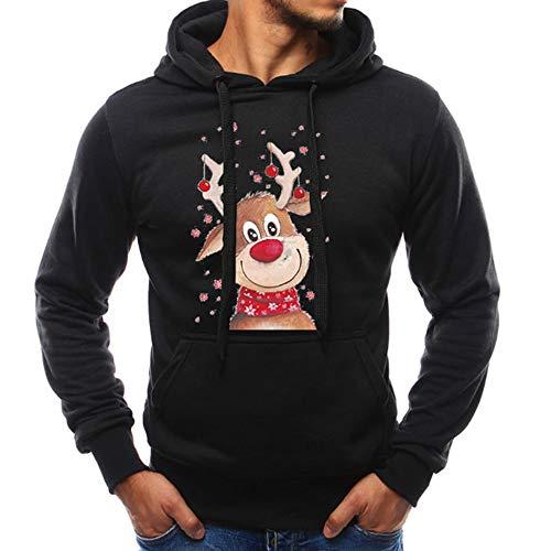 OverDose Damen Pullover Bluse Herren Langarm Weihnachten Partei Bar Cosplay Schlank Charming Casual Sweatshirt Hoodies Trainingsanzüge Für Herbst Winter(Schwarz,44 DE/M CN )