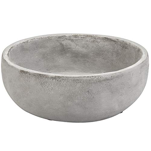 MyGift 8 Inch Decorative Minimalist Round Grey Cement Succulent Planter Bowl