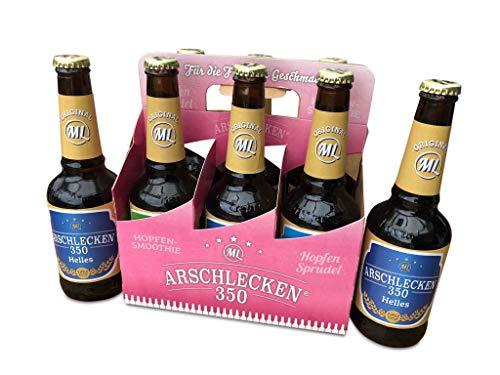 Frauen-Sixpack 2 x Arschlecken 350, 2 x Hopfensprudel, 2 x Hopfensmoothie in der Frauenhandtasche Original ML Helles in 0,33 Liter Flaschen (insgesamt 6) Alc.5,2% vol.