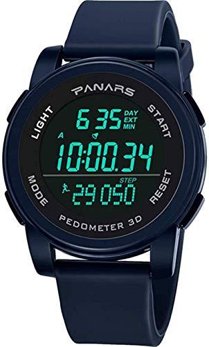 Mode Wasserdicht Laufen Schrittzähler Herrensport Elektronische Uhr Digitaluhr Mode Herrenuhr Outdoor-Sport-Schwarz_Zifferblatt:_50_mm