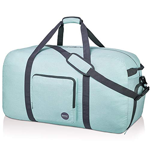 WANDF 32'' Foldable Duffle Bag 100L for Travel Gym Sports Lightweight Luggage Duffel 10 Color Choices (32 inches (100 Liter), Light Mint Green 32'')
