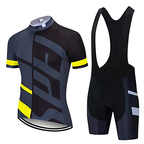 QWA Mens Short Sleeves Team Cycling Jersey Breathable Quick-Dry Shirt + Cycling Bibs Shorts with 20D Padded Mountain Bicycle Clothes (Color : Yellow 2, Size : E(XL))