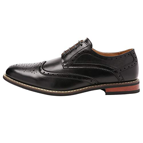 Bruno HOMME MODA ITALY PRINCE Men's Classic Modern Oxford Wingtip Lace Dress Shoes,PRINCE-3-BLACK,10 D(M) US