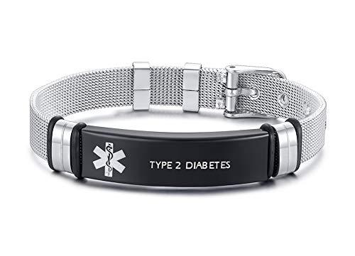 XUANPAI Edelstahlarmbandarmband Angepasst Medical Alert Notfall Link Armband Einstellbar Graviert mit Type 2 Diabetes