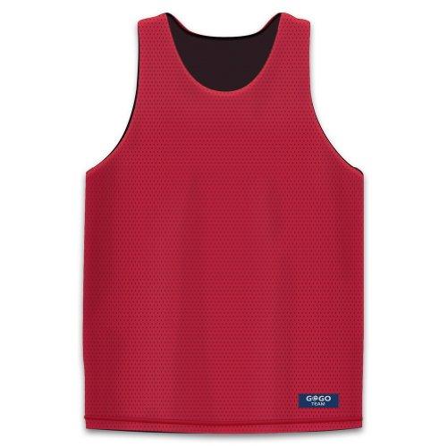 GOGO TEAM Camisetas de Baloncesto Reversibles Jersey de Lacrosse Tanque de Malla Black/Red L