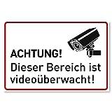 Achtung Videoüberwachung Schild (30x20 cm Alu) - Warnschilder und Hinweisschilder - Videoüberwacht Schilder (Metall)