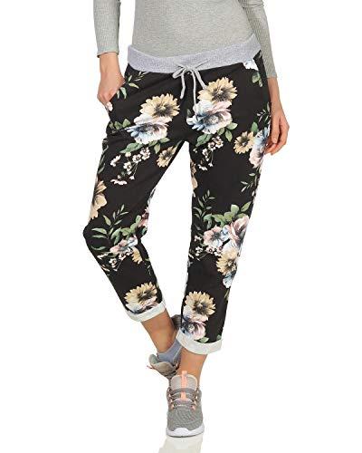 ZARMEXX Damen Sweatpants Freizeithose in verschieden Motiven und Mustern Blume schwarz One Size (36-40)