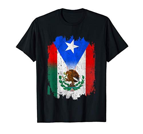 Bandera de México mexicano Bandera de Puerto Rico Regalo Camiseta