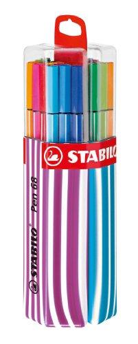 Premium-Filzstift - Stabilo Pen 68 - 20er Twin-Pack in pink/hellblau mit Hängelasche - mit 20 verschiedenen Farben
