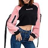 Streatwear Damen Sweatshirt Casual Pullover Mode Brief Drucken Langärmliges T-Shirt Mit Schleife Quaste Rosa NäHten Weste Reißverschluss Straßentanz Hip-Hop Kleidung Tank Top