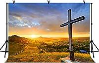 HD 7x5ft木製の聖なる十字の背景太陽が沈むように無限のフィールドイースタークリスマスキリスト降誕の写真の小道具写真スタジオの小道具LYLS818