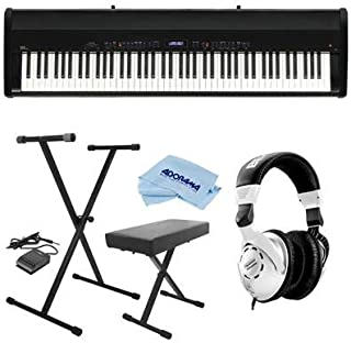 Kawai ES8 88-Key Portable Digital Piano, Stylish Black - Bundle With Behringer HPS3000 High-Performance Studio Headphones On-Stage KB8904B Deluxe Piano Bench with Storage Compartment, Microfiber Cloth