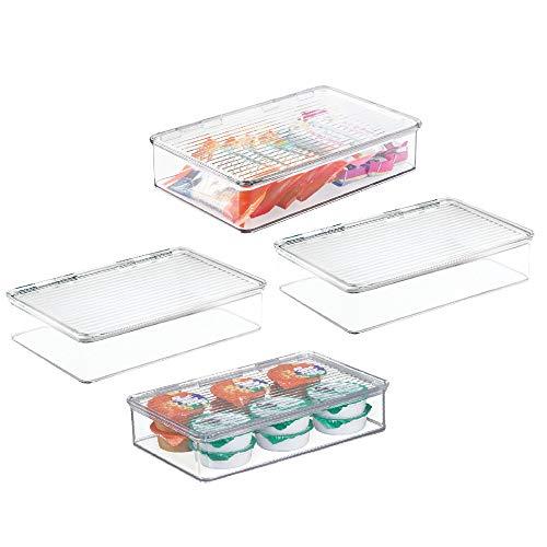 mDesign Juego de 4 fiambreras con tapa para el frigorífico – Cajas de plástico para guardar alimentos – Organizador de nevera para tarritos infantiles y otros productos – transparente