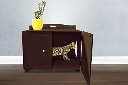 Furhaven Pet Cat Bed Furniture - Classic Decorative Hidden Litter Box Cover Indoor Storage Washroom Cabinet Table Pet House Enslosure for Cats, Espresso, One Size