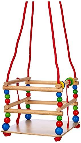 Hess Holzspielzeug 31101 - Gitterschaukel aus Holz mit bunten Perlen und Ringen, handgefertigt, für Kleinkinder ab 12 Monaten, für unbeschwertes Schaukelvergnügen im Haus, auf der Terrasse und im Garten