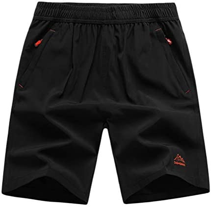 XinnanDe Mens Stretch Outdoor Quick Dry Elastic Waist Drawstring Sports Shorts Black 3XL product image