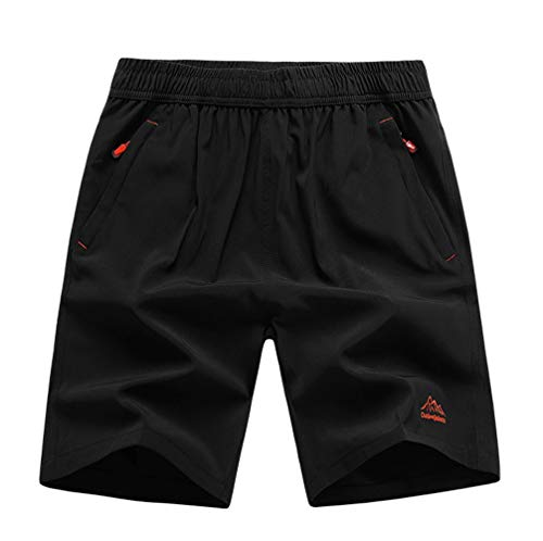 XinnanDe Mens Stretch Outdoor Quick Dry Elastic Waist Drawstring Sports Workout Shorts Black 36