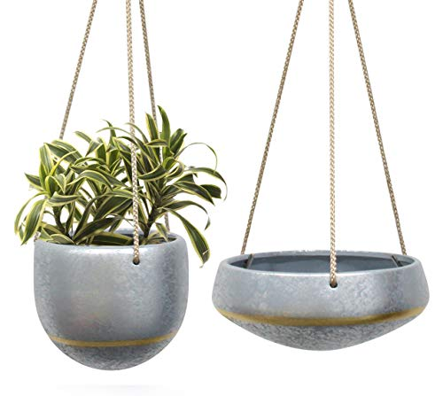 HangingPlanters Flower Plant Pot - Hand Painted Gray Ceramic Shallow 8 Inch & Deep 6 Inch Herb Ivy Succulent Planter Indoor with Silver Pattern and Gold Accent, Home Decor Gift , Set of 2