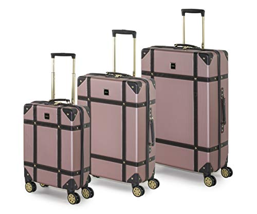 Rock Vintage Koffer Retro 8 Rollen Spinner Gepäck Pink rose Set