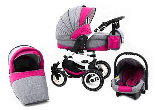 Tabbi ECO LN | 3 in 1 Kombi Kinderwagen | Hartgummireifen | Farbe: Pink