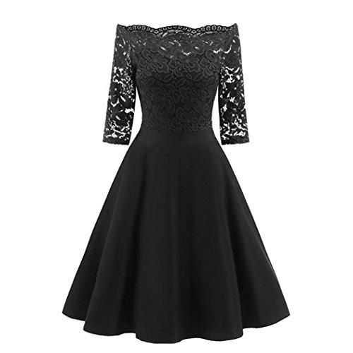 Dress For Women ,Usstore Wedding Off Shoulder Knee-Length Evening Costume Fit and Flare Half Dresses (Black, S)