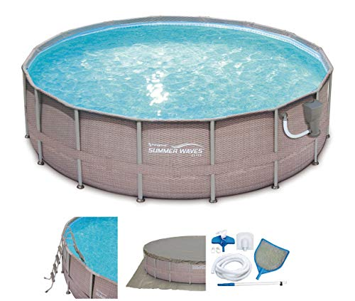 Summer Waves 16ft x 48in Elite Wicker Print Above Ground Frame Pool Set w/Pump