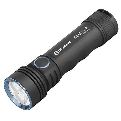 OLIGHT SEEKER 2 Torcia a LED, 3000 lumen, durata massima 96 ore, portata 220 m, ricaricabile, estremamente luminosa con batteria 5000 mAh, 5 modalità per campeggio, escursionismo, ciclismo