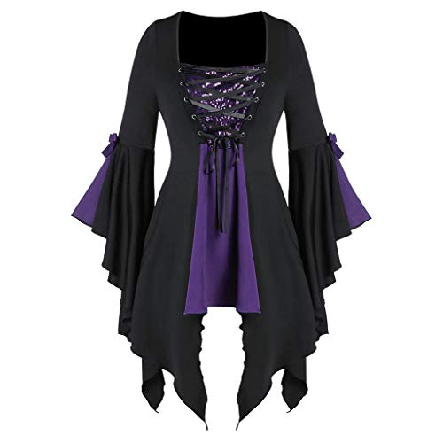 Aniywn Plus Size Womens Halloween Tops, Flare Long Sleeve Sequined Lace Up Gothic Costume Tunic Tee Shirt Purple