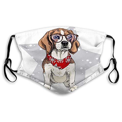 wanglinbin11 Unisex Mundschutz Gesichtsschutz Polyester Porträt Beagle Hund trägt Winter Bandana Reiseabdeckung