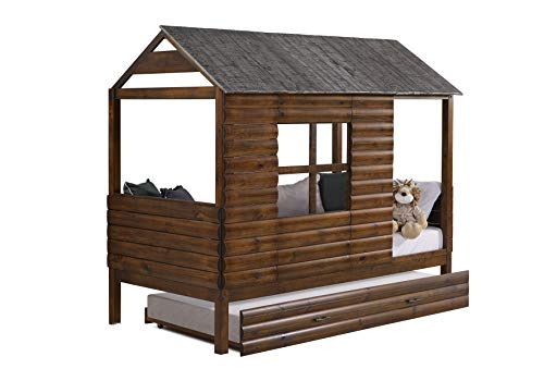 Donco Kids Log Cabin Low w/Twin Trundle, Rustic Walnut Loft, Double