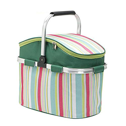 Picnic Basket 26L Oxford Cloth Large Capacity Insulation Cold Outdoor Picnic Basket Striped Aluminum Film Portable Shopping Basket Picnic Hamper