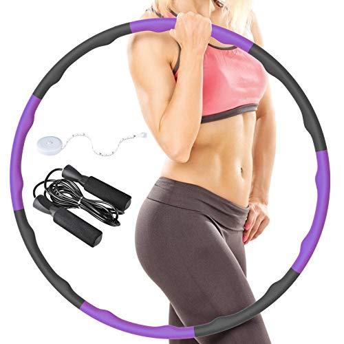 RIRGI Hula Hoop Reifen zum Abnehmen Hulahoopreifen für Erwachsene & Kinder, 8-Abschnitt abnehmbar Hula-Hoop mit Schaumstoff, Slim Hoop Reifen für Fitness mit Mini Bandmaß & Seilspringen