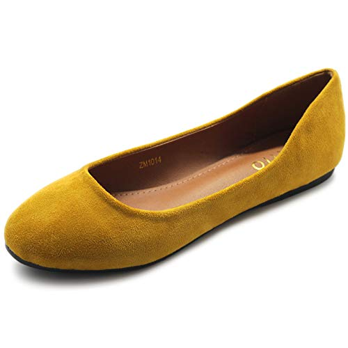 Ollio Womens Shoe Ballet Light Faux Suede Low Heels Flat ZM1014(6 B(M) US, Mustard)