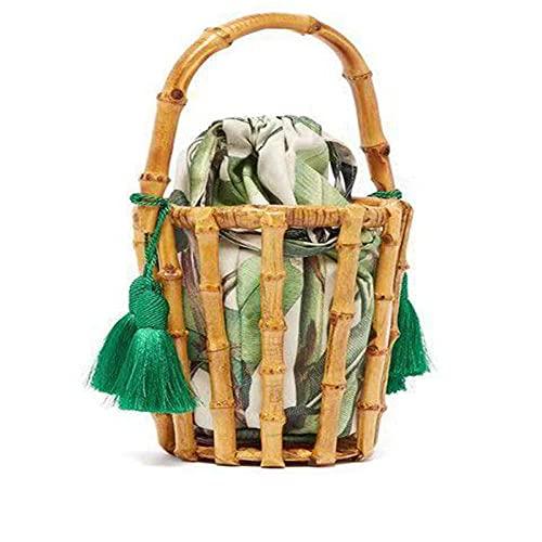 Zyyszma Bolsos hechos a mano para mujer, bolso tejido con borlas, bolso de bambú, bolso de mano con costura, bolso de cubo hueco, bolso de playa para vacaciones en Bali, 18X18X13CM