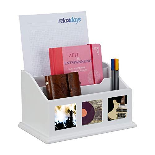 Relaxdays, weiß Dokumentenablage mit 3 Bilderrahmen, 3 Fächer Stehsammler für Din A4, Design Büro Organizer mit Fotos, 17 x 28 x 17 cm